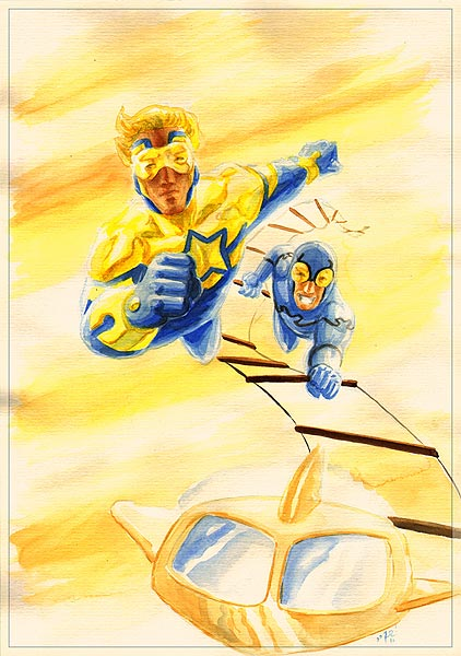 Booster Gold and Blue Beetle by therealRIZ
