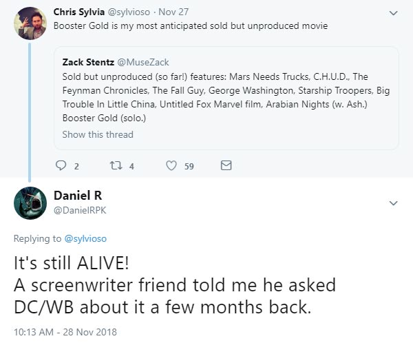 It's still ALIVE! A screenwriter friend told me he asked DC/WB about it a few months back. @DanielRPK 28 Nov 2018