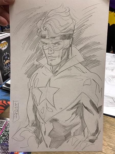 Booster Gold sketch by Dave Acosta