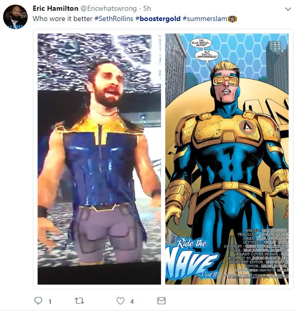 Who wore it better #SethRollins #boostergold #summerslam -- @Ericwhatswrong 19 Aug 2018