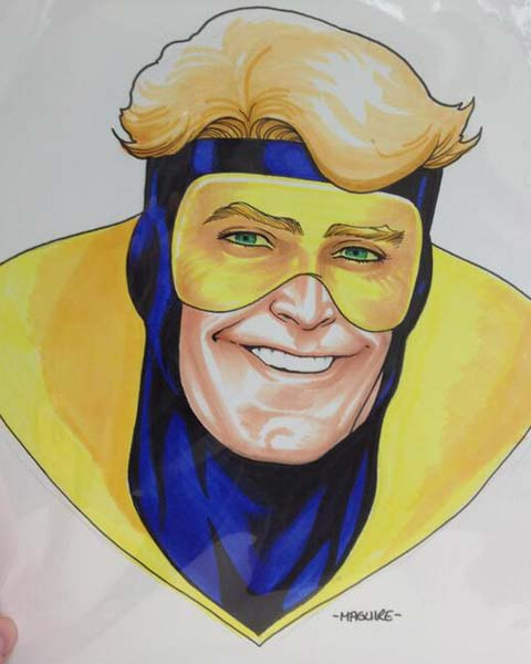 Kevin Maguire draws Booster Gold for The Blot Says