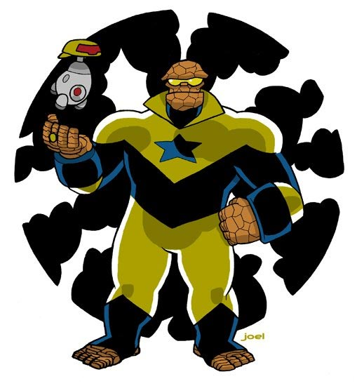The Thing as Booster Gold (and H.E.R.B.I.E. as Skeets) by Joel Carroll