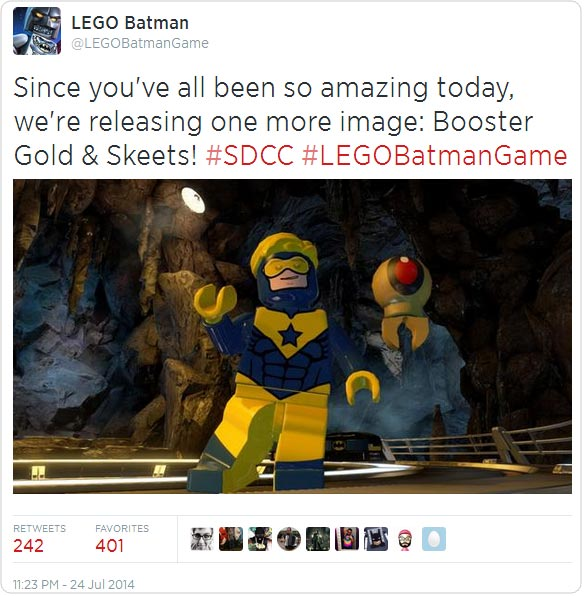 Since you've all been so amazing today, we're releasing one more image: Booster Gold & Skeets! #SDCC #LEGOBatmanGame