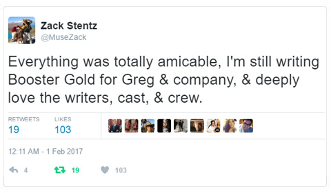 Everything was totally amicable, I'm still writing Booster Gold for Greg & company, & deeply love the writers, cast, & crew. -- @musezack 1 Feb 2017