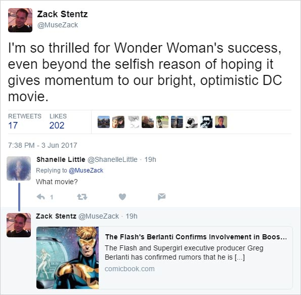 I'm so thrilled for Wonder Woman's success, even beyond the selfish reason of hoping it gives momentum to our bright, optimistic DC movie. -- @MuseZack 2017-06-03