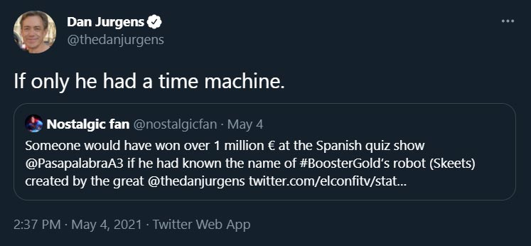 If only he had a time machine. @thedanjurgens May 4, 2021 Twitter.com