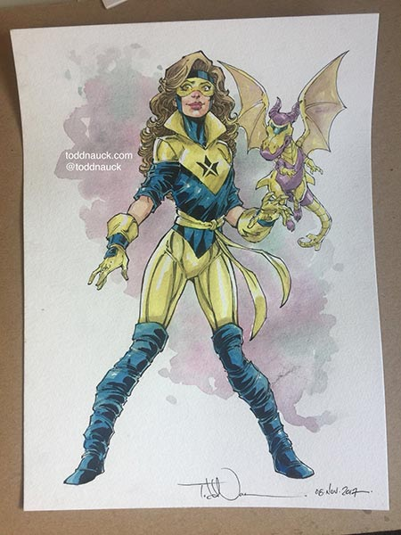 Booster Gold and Skeets crossed with Kitty Pryde and Lockheed by Todd Nauck
