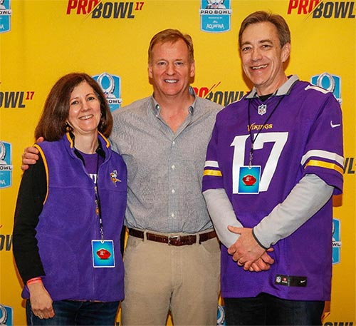 Dan Jurgens, wife Amy, and NFL Commissioner Roger Goodell (not in that order)