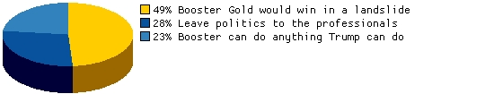 How does Booster Gold compare to the current, oversized field of presidential candidates?